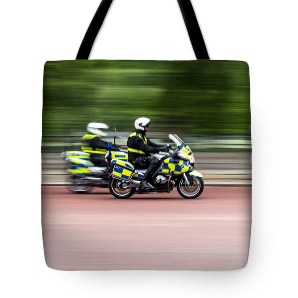 British Police Motorcycle Tote Bag