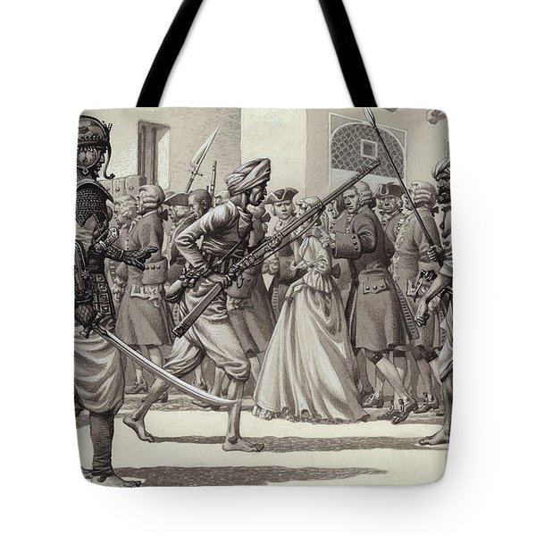 British Soldiers Are Forced Into The Black Hole Of Calcutta Tote Bag