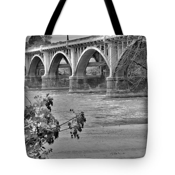 Tote Bag featuring the photograph Gervais Street Bridge Black And White by Lisa Wooten