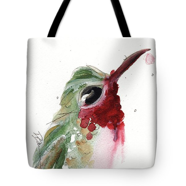 Tote Bag featuring the painting Broadtail Hummingbird by Dawn Derman