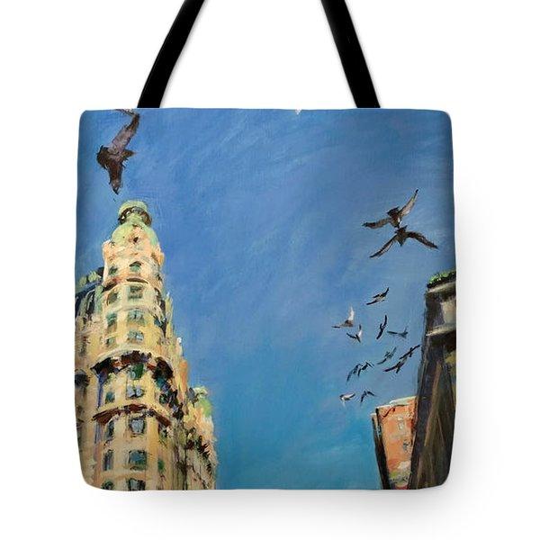 Broadway Pigeons No. 1 Tote Bag by Peter Salwen