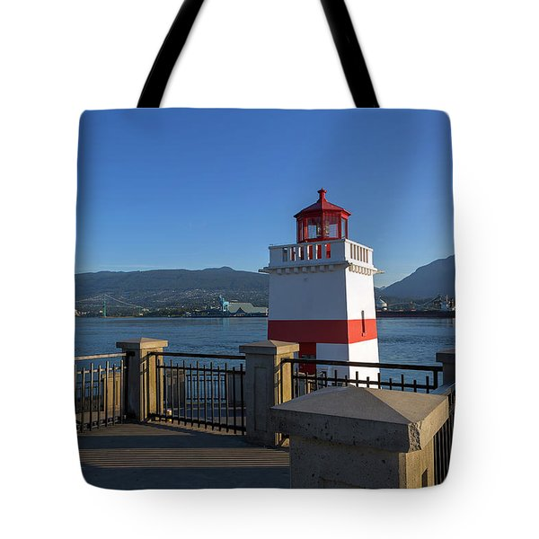 Brockton Point Lighthouse In Vancouver Bc Tote Bag by David Gn