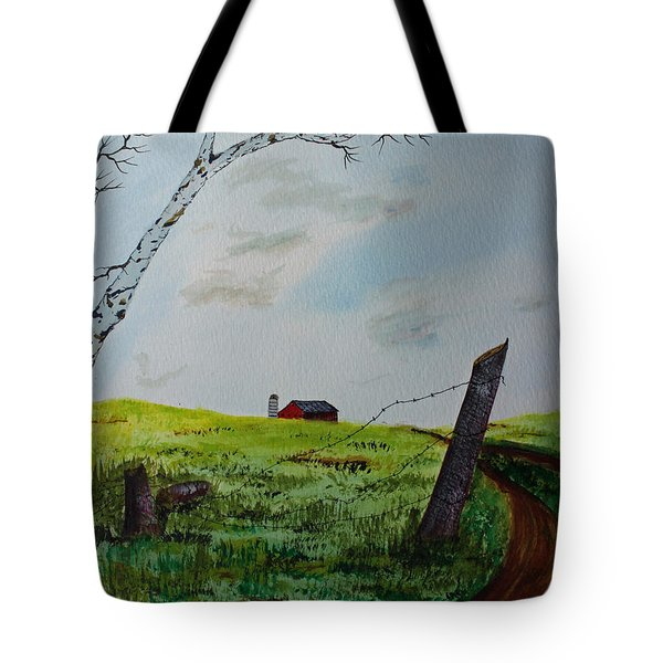 Tote Bag featuring the painting Broken Fence by Jack G  Brauer