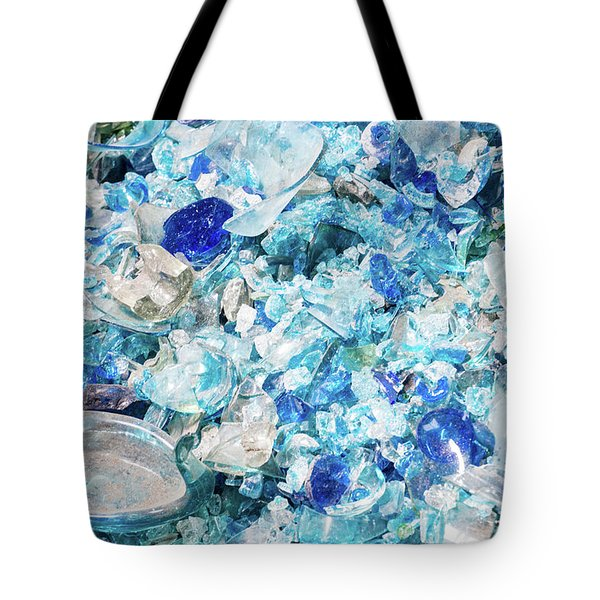 Tote Bag featuring the photograph Broken Glass Blue by Melissa Lane