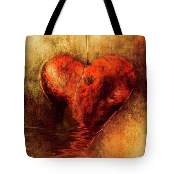 Tote Bag featuring the digital art Broken Hearted by Elaine Teague