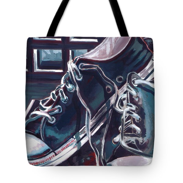 Tote Bag featuring the painting Broken-in Converse by Shawna Rowe