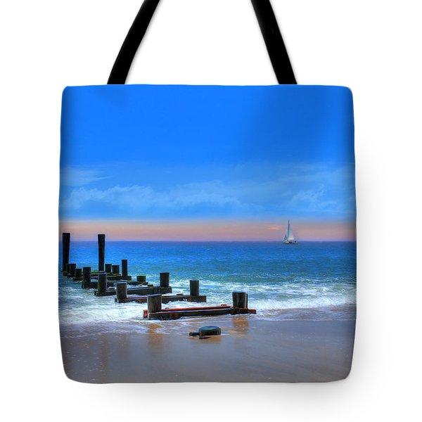 Tote Bag featuring the digital art Broken Pier by Sharon Batdorf