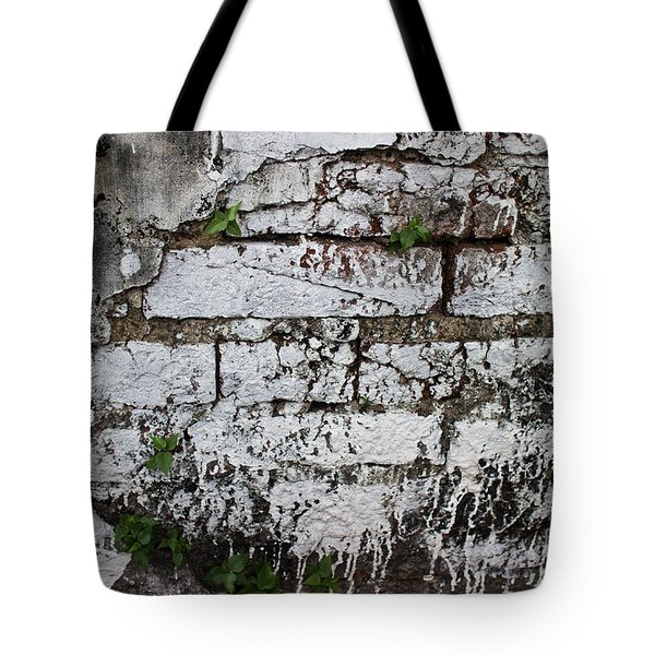Broken Stucco Wall With Whitewashed Exposed Brick Texture And Ve Tote Bag by Jason Rosette