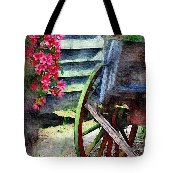 Tote Bag featuring the photograph Broken Wagon by Donna Bentley