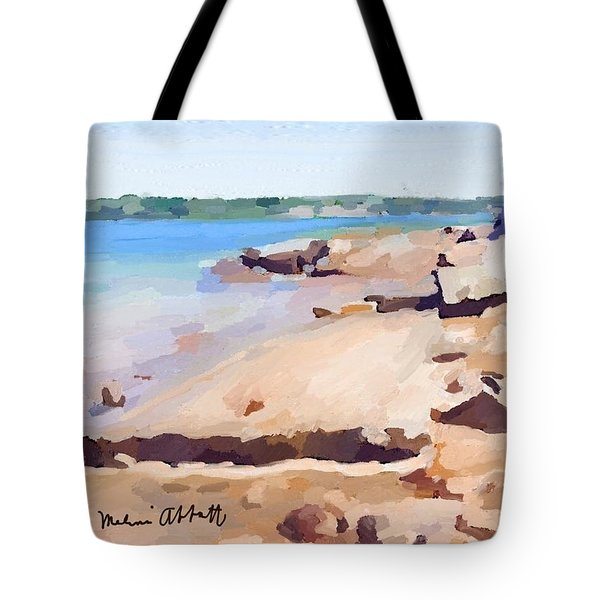 Broken Walkway Rock At Ten Pound Island Beach Tote Bag