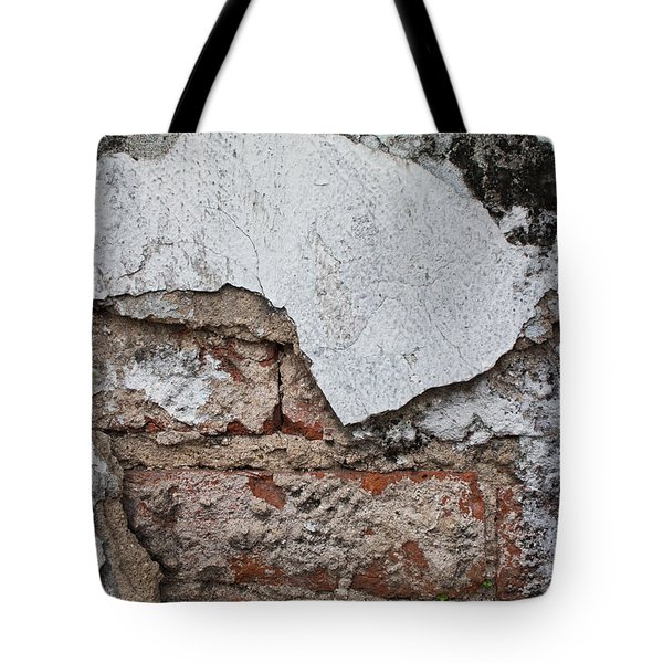 Broken White Stucco Wall With Weathered Brick Texture Tote Bag by Jason Rosette