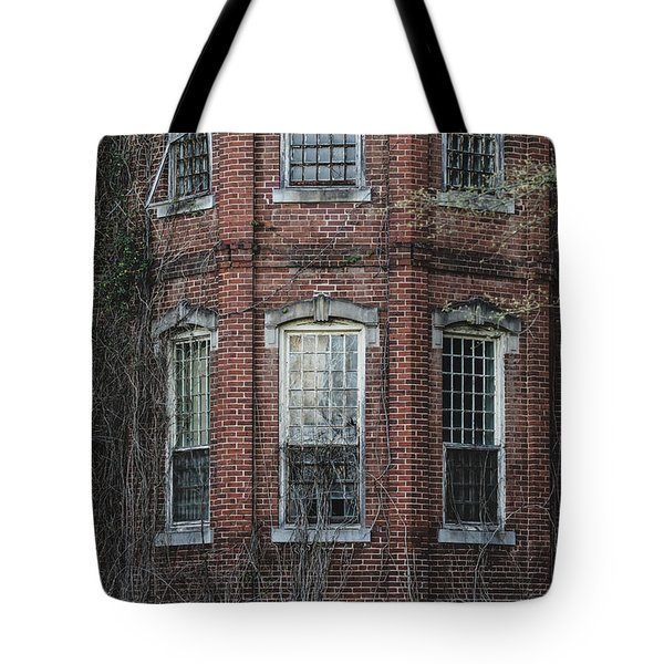 Tote Bag featuring the photograph Broken Windows On Abandoned Building by Kim Hojnacki