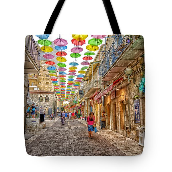 Brollies Over Jerusalem Tote Bag by Uri Baruch