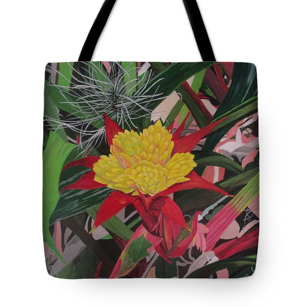 Tote Bag featuring the painting Bromelaid And Airplant by Hilda and Jose Garrancho