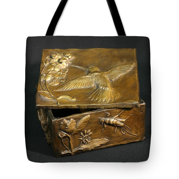 Tote Bag featuring the sculpture Bronze Hummingbird Box by Dawn Senior-Trask
