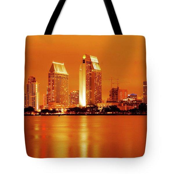 Bronze San Diego Skyline Tote Bag