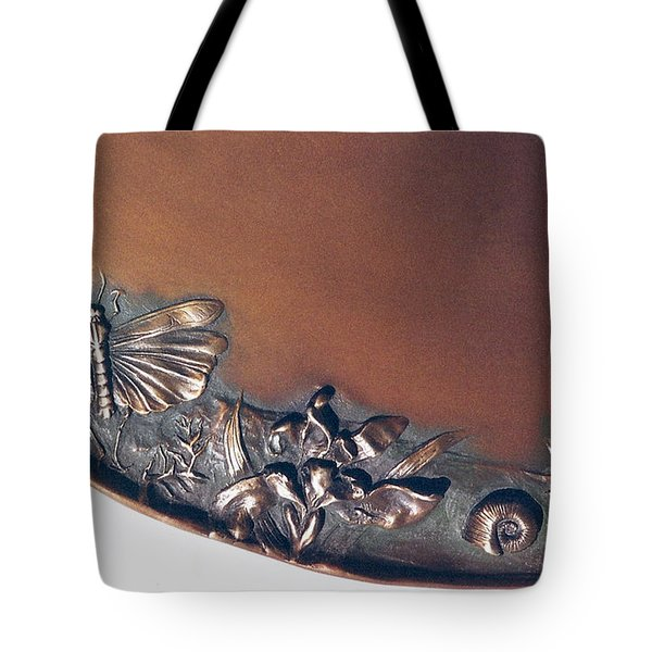 Bronze Tray Detail With Locust Tote Bag by Dawn Senior-Trask