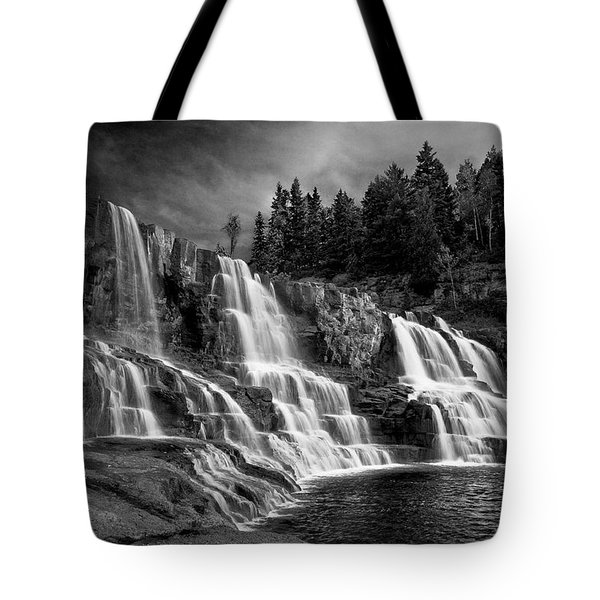 Tote Bag featuring the photograph Brooding Gooseberry Falls by Rikk Flohr