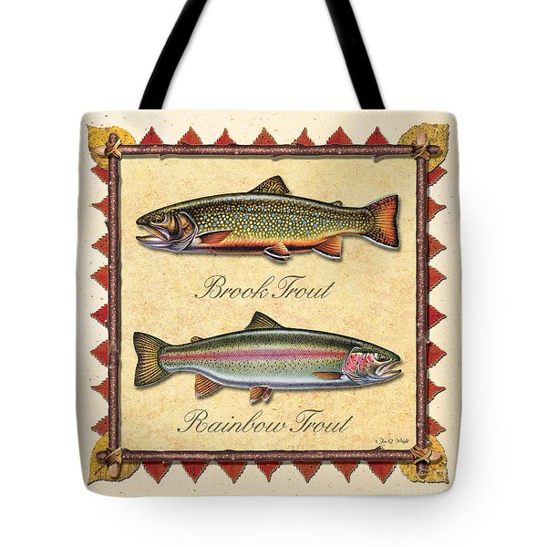 Brook And Rainbow Trout Creme Tote Bag