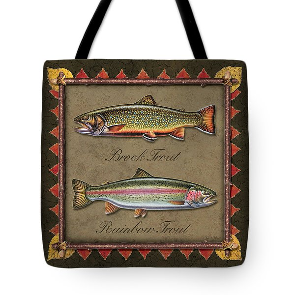 Brook And Rainbow Trout Tote Bag