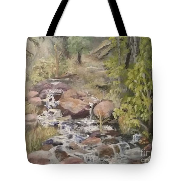 Tote Bag featuring the painting Brook by Saundra Johnson
