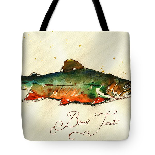 Brook Trout Art Tote Bag by Juan  Bosco