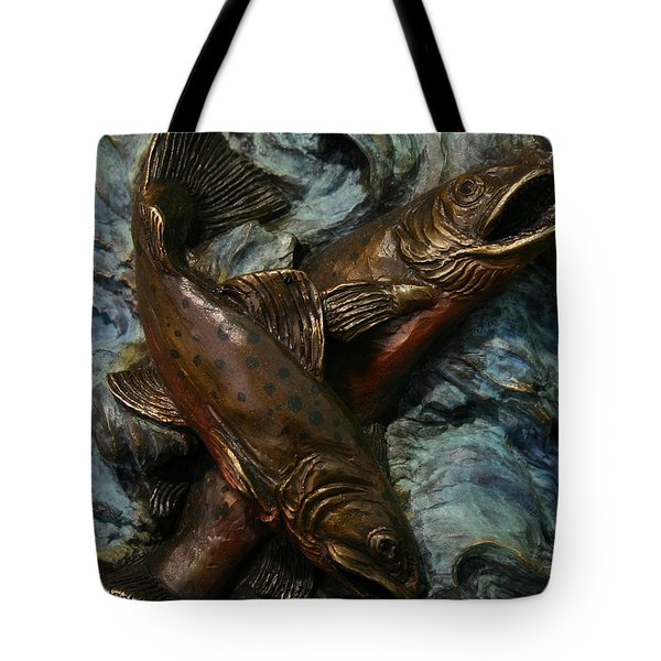 Tote Bag featuring the sculpture Brook Trout by Dawn Senior-Trask