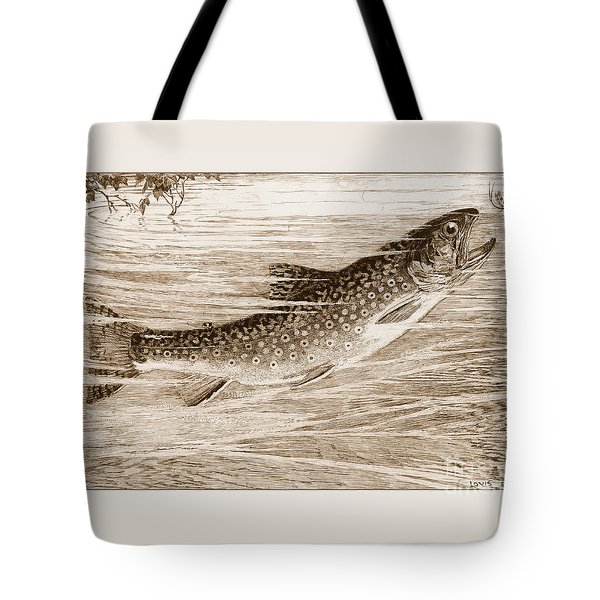 Tote Bag featuring the photograph Brook Trout Going After A Fly by John Stephens