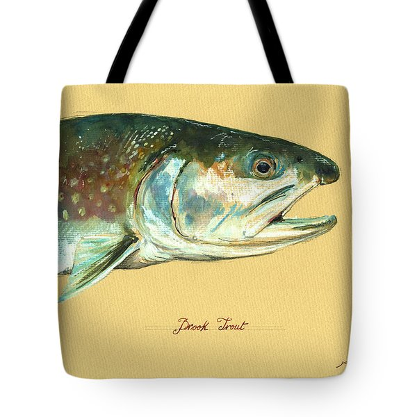 Brook Trout Watercolor Tote Bag by Juan  Bosco