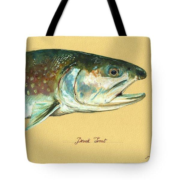 Brook Trout Watercolor Tote Bag by Juan  Bosco