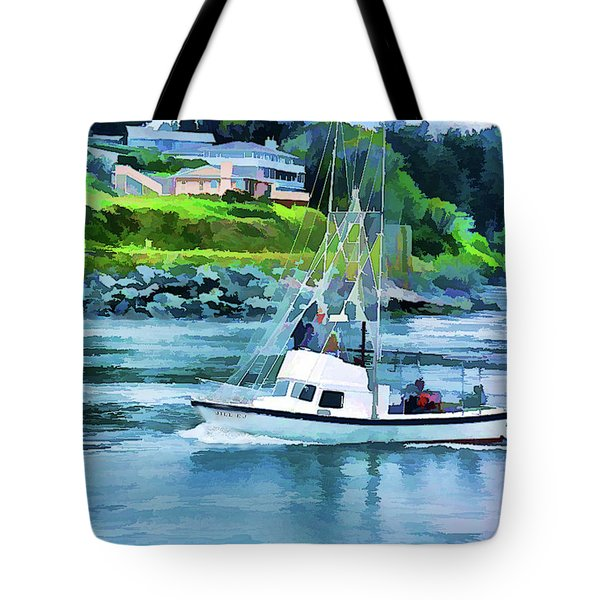 Brookings Boat Oil Painting Tote Bag