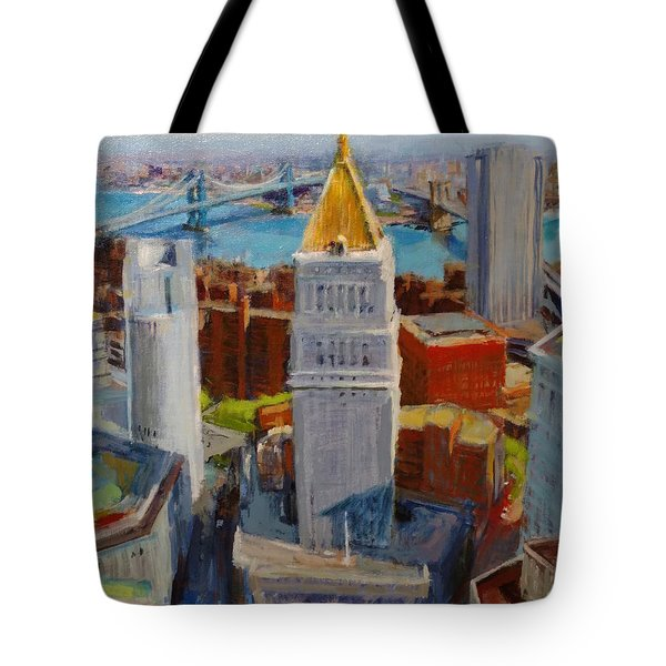 Brooklyn And East River Bridges From Foley Square Tote Bag by Peter Salwen