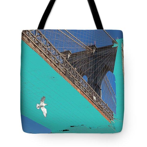 Brooklyn Bridge And Bird Tote Bag