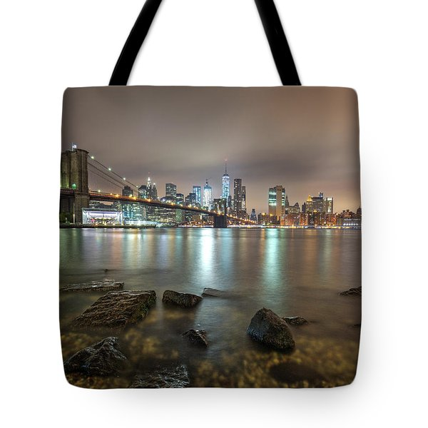 Tote Bag featuring the photograph Brooklyn Bridge At Sunrise  by Emmanuel Panagiotakis