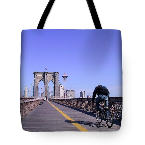 Brooklyn Bridge Bicyclist Tote Bag