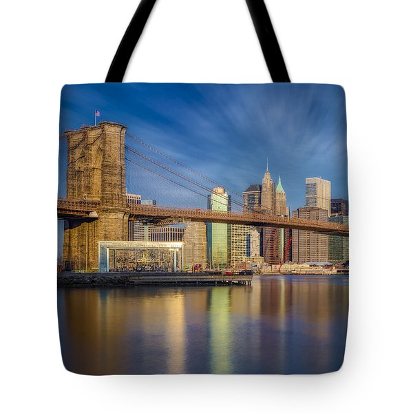 Tote Bag featuring the photograph Brooklyn Bridge From Dumbo by Susan Candelario