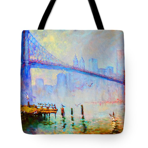 Brooklyn Bridge In A Foggy Morning Tote Bag by Ylli Haruni