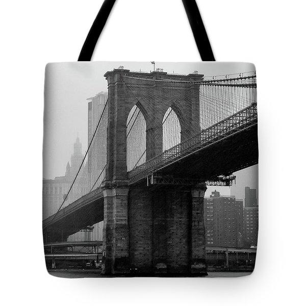 Brooklyn Bridge In A Storm Tote Bag