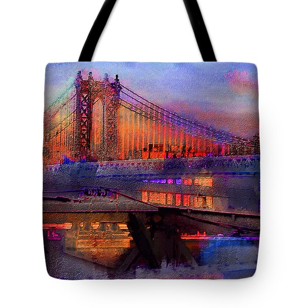 Tote Bag featuring the digital art Brooklyn Bridge by Iowan Stone-Flowers