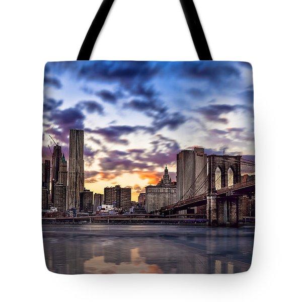 Brooklyn Bridge Manhattan Sunset Tote Bag