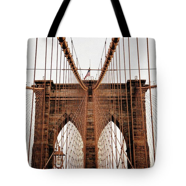 Tote Bag featuring the photograph Brooklyn Bridge by MGL Meiklejohn Graphics Licensing