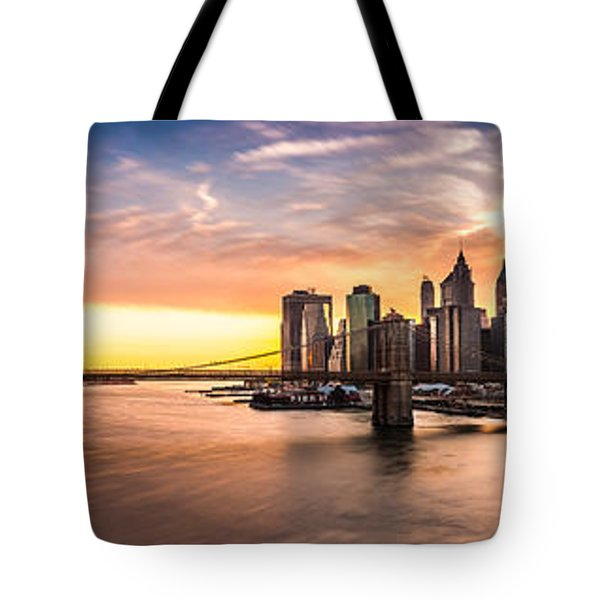 Tote Bag featuring the photograph Brooklyn Bridge Panorama by Mihai Andritoiu