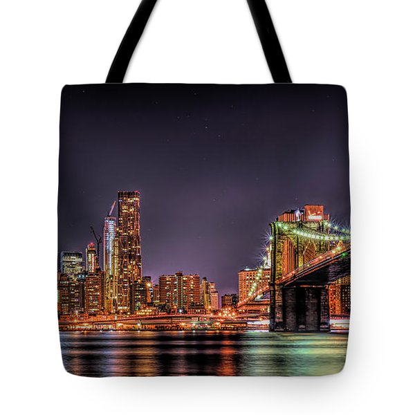 Tote Bag featuring the photograph Brooklyn Bridge Park Nights by Theodore Jones