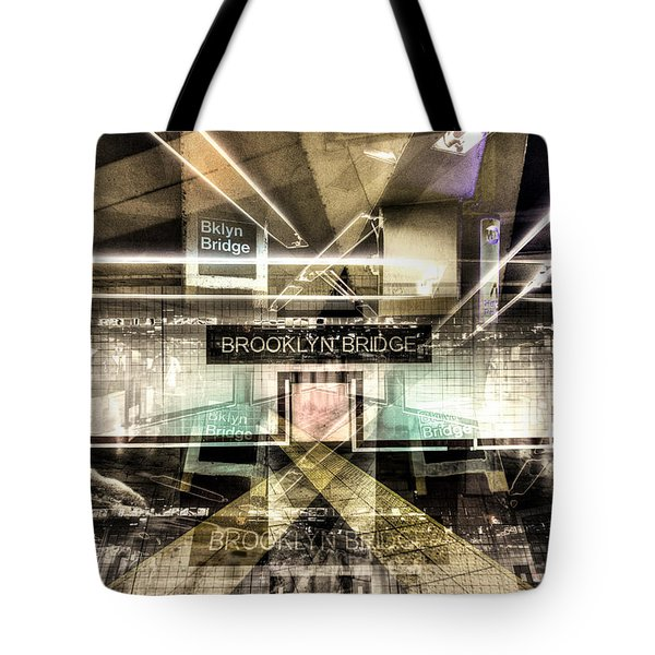 Tote Bag featuring the photograph Brooklyn Bridge Station Collage by Dave Beckerman