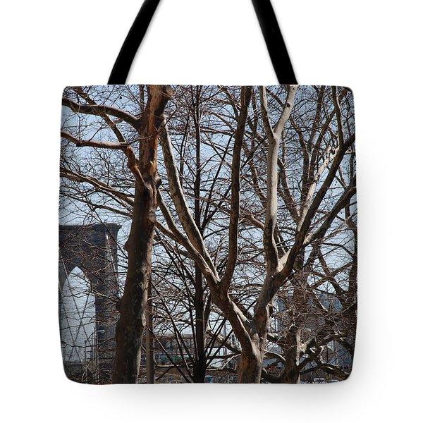 Brooklyn Bridge Thru The Trees Tote Bag by Rob Hans