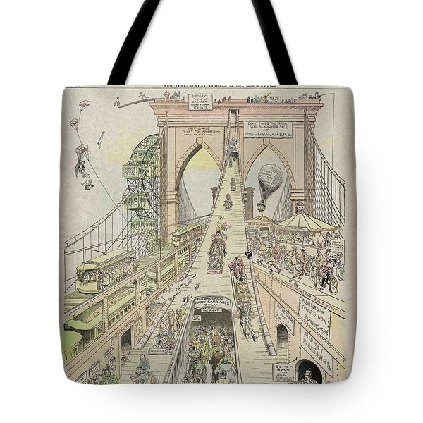 Tote Bag featuring the photograph Brooklyn Bridge Trolley Right Of Way Controversy 1897 by Daniel Hagerman