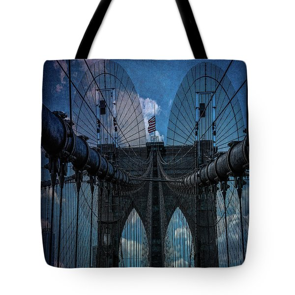Tote Bag featuring the photograph Brooklyn Bridge Webs by Chris Lord
