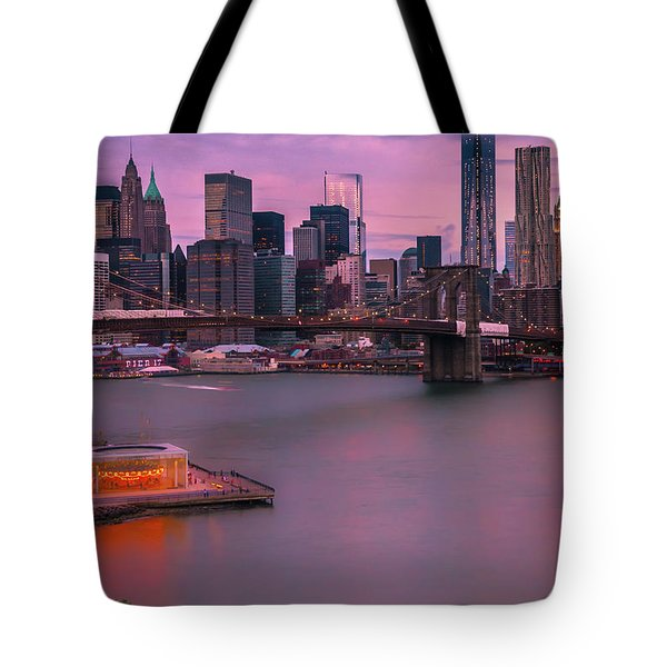 Brooklyn Bridge World Trade Center In New York City Tote Bag
