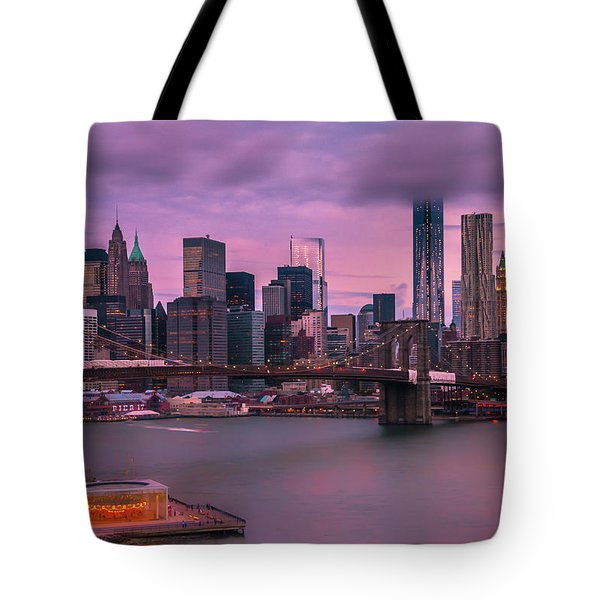 Tote Bag featuring the photograph Brooklyn Bridge World Trade Center In New York City by Ranjay Mitra