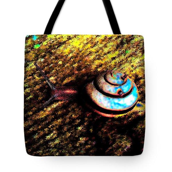 Tote Bag featuring the digital art Brooklyn Snail by Iowan Stone-Flowers